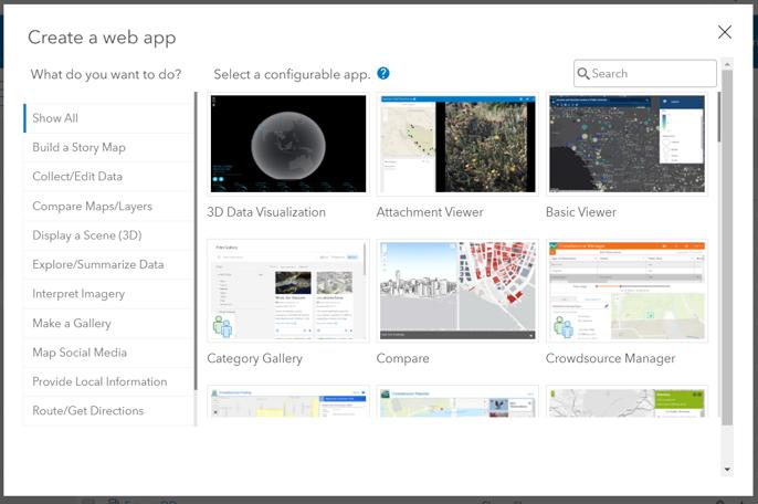 ArcGIS Online create app.